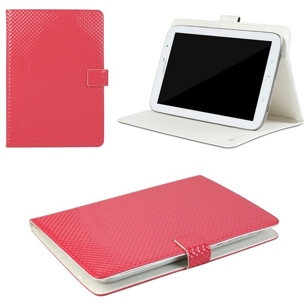 "JAVOedge 3D Square Grid Universal 7-8"" Book Case for the iPad Mini, Samsung Tab, Nexus 7, Nook HD (Red)"