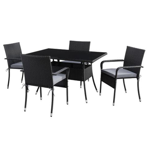 CorLiving Parksville Rectangle Patio Dining Set- Stackable Chairs - Black Finish/Ash Grey Cushions 5pc