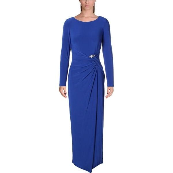 Lauren Ralph Lauren Womens Evening Dress Gathered Embellished