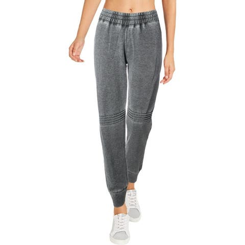 Splendid Women's Distressed Pintucked Activewear Yoga Fitness Jogger Pants - Black
