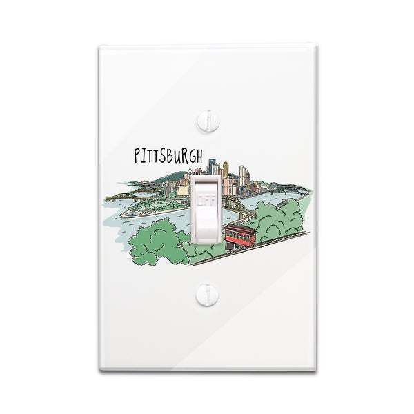 Pittsburgh, PA - Line Drawing - LP Artwork (Light Switchplate Cover)