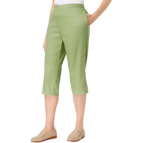 Alfred Dunner Womens Parrot Cay Capri Pants Classic Fit Pull-On