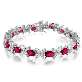 Bling Jewelry Marquise Red CZ Tennis Bracelet Rhodium Plated