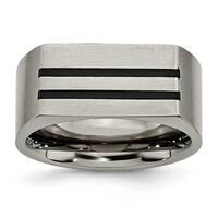 Chisel Titanium 10mm Black Enamel Stripes Satin Band