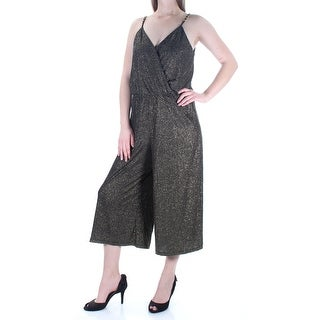 Womens Gold Black V Neck Spaghetti Strap Cocktail Jumpsuit Size M