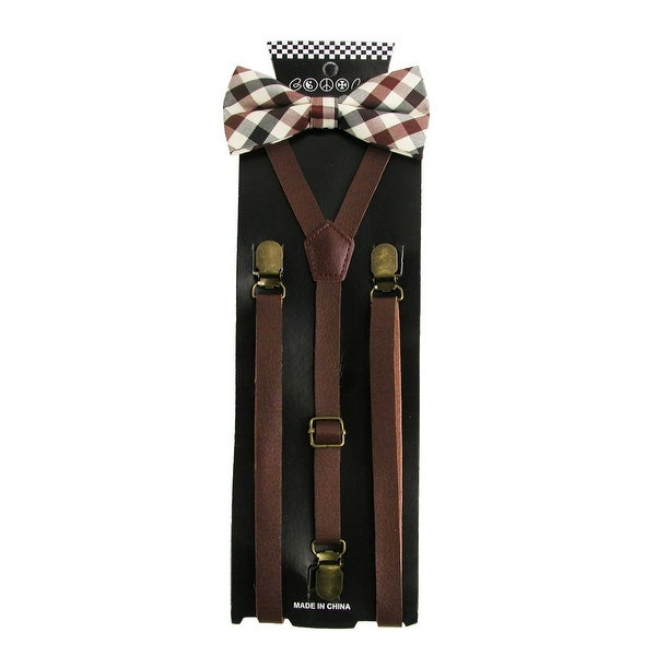 CTM® Men's Brown Plaid Bow Tie with Brown Faux Leather Suspender Set - One size