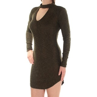 Womens Green Long Sleeve Micro Mini Body Con Cocktail Dress Size: L