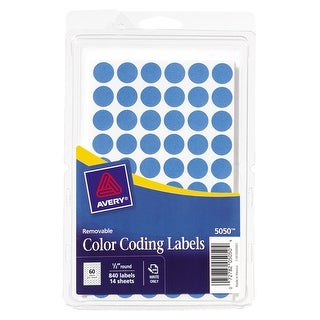 Round Color Coding Labels, 4 x 6 in Sheets, 1/2 in Diameter, Light Blue, Removable, 60-up, 840/pk