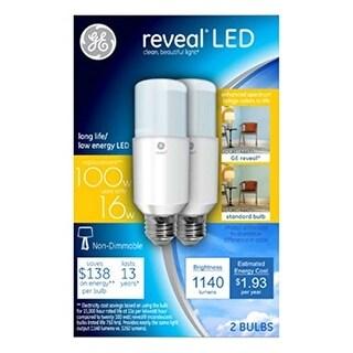 GE 36477 Reveal LED Stick Light Bulbs, 16 Watts, 2/Pack