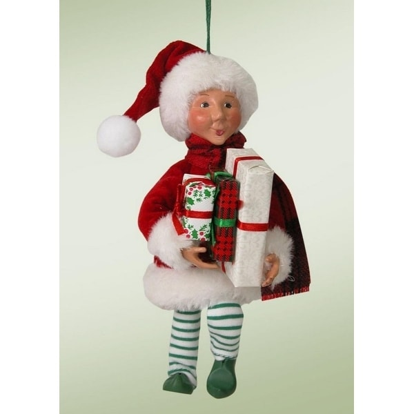 """6.5"""" Kindles """"Wraps with Presents"""" Poseable Elf Figure Christmas Tree Ornament - RED"""