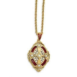 14k Gold IP Crystal Red Enameled Cross Necklace - 30in