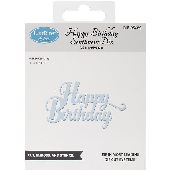 JustRite Custom Dies-Happy Birthday Sentiment