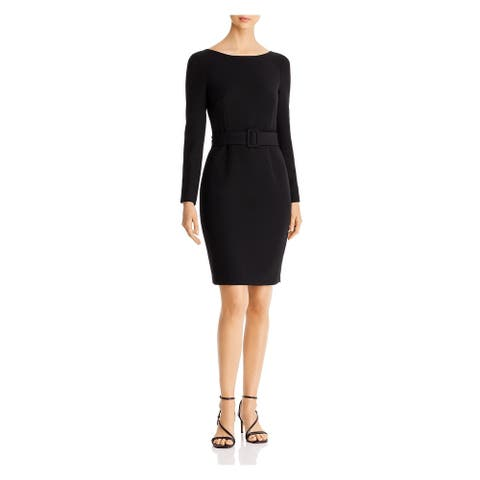 DONNA KARAN Black Long Sleeve Above The Knee Dress 6