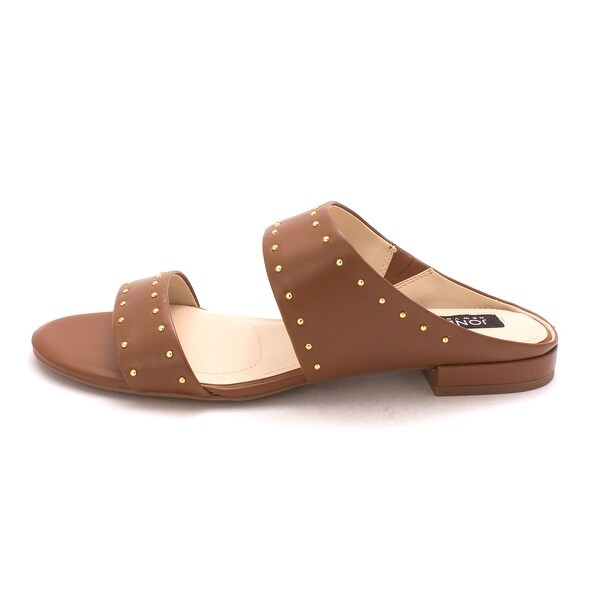 Jones New York Womens Sabrina Leather Open Toe Casual Slide Sandals