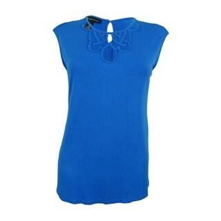 INC International Concepts Women's Petite Cutout Top (PL, Caribe Blue) - caribe blue - pl
