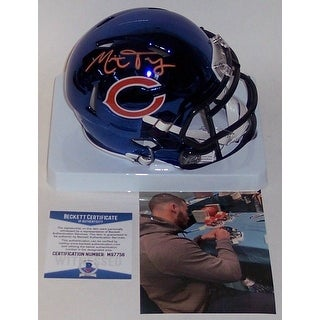 Mitch Trubisky Autographed Hand Bears Chrome Speed Mini Helmet BAS Beckett