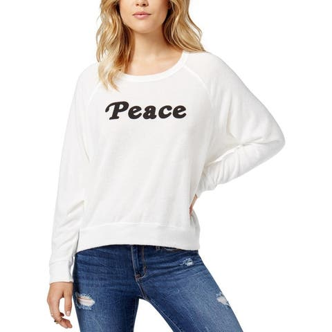 Project Social T Womens Juniors Peace Sweatshirt Crew Neck Long Sleeves