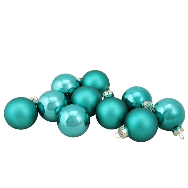 "10-Piece Shiny and Matte Turquoise Blue Glass Ball Christmas Ornament Set 1.75"" (45mm)"