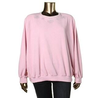 Alfred Dunner Womens Plus Fleece Rhinestone Pullover Sweater - 3X