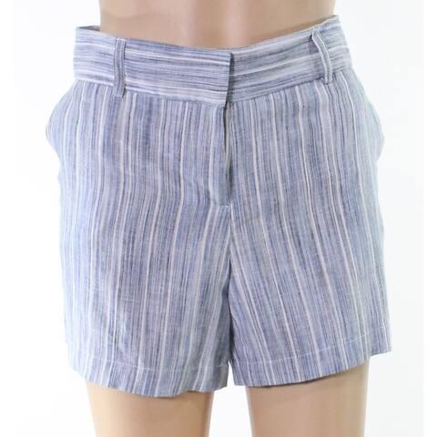 Caslon Blue White Gray Womens Size 10 Pinstriped Midrise Shorts