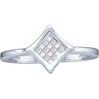 1/8Ctw Princess Diamond Ladies Invisible Square Ring White-Gold 14K