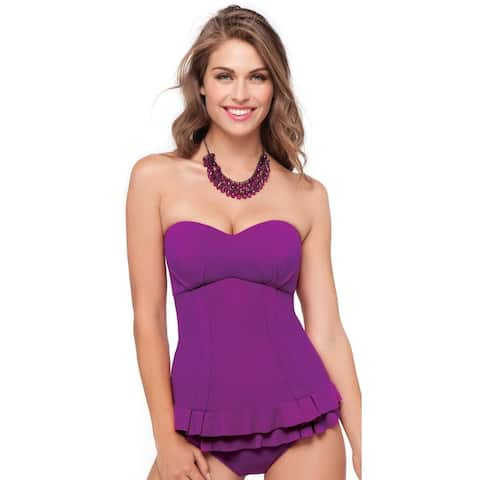 Profile by Gottex Women's Starlet Bandini Ruffled Tankini Top, Violet, 6