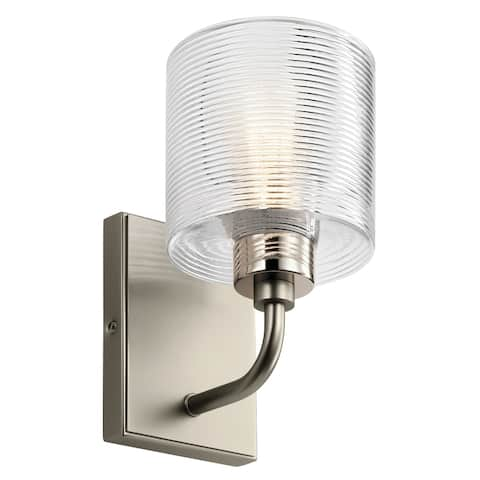 Kichler Harvan 9.25 Inch 1 Light Wall Sconce with Clear Ribbed Glass in Satin Nickel