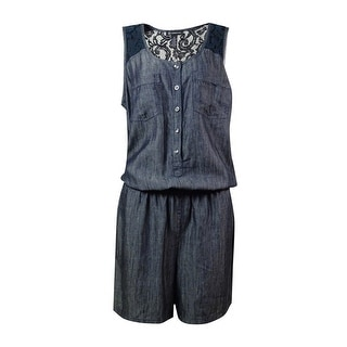 INC International Concepts Women's Faux-Denim Lace Romper - 12