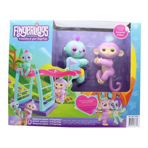 Fingerlings Monkey Bar Playset w/ 2 Fingerlings - Savannah and Clara - Multi