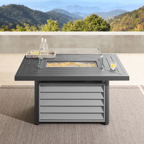 Wevok Rectangle Aluminum Propane Fire Pit Table by Havenside Home