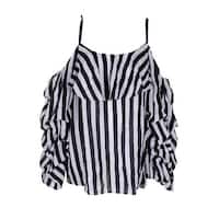 d4f52ff70227fe Inc International Concepts Black White Striped Cold-Shoulder Top XXL