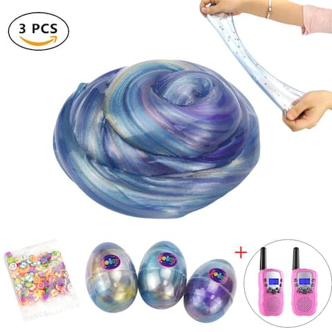 3 Pack Galaxy Slime Ball, Fluffy & Stretchy, Non-Sticky, Stress Relief,w/ 2 Pack Walkie Talkies for Kids - Multi