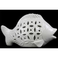 Urban Trends Collection 13814 Ceramic Fish Figurine, Gloss White
