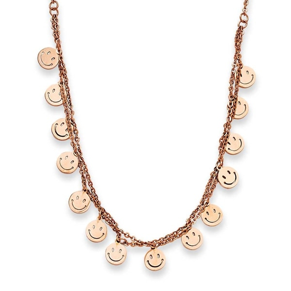 Stainless Steel Rose Gold-plated Happy Faces 19in with ext Necklace (1 mm) - 19 in
