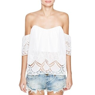 Lucy Paris Womens Blouse Lace Embroidered