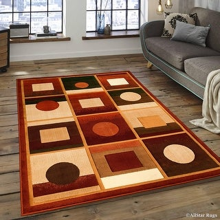 "Allstar Orange Modern Formal Area Rug (3' 9"" x 5' 1"")"