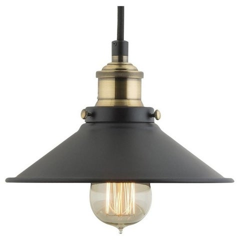 Industrial 1-Light Pendant Lights with Black Shade