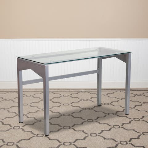 Contemporary Clear Tempered Glass Desk with Geometric Sides and Silver Frame