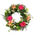 "22"" Decorative Pink Silk Zinnia Daisy Flower Artificial Spring Floral Wreath - Thumbnail 0"