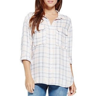 Two by Vince Camuto Womens Button-Down Top Plaid Twill