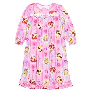 Disney Princess Toddler Girls Long Sleeve Flannel Granny Gown Nightgown Pajamas