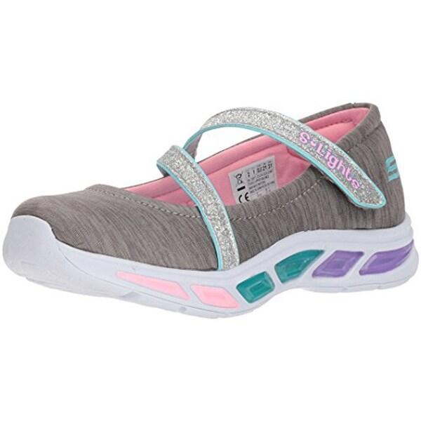 Skechers Kids Girls' Litebeams Spin N'sparkle Sneaker, GrayMulti, 4 Medium Us Big Kid