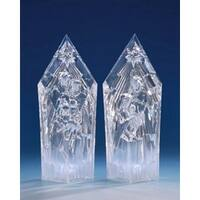 Pack of 2 Icy Crystal Illuminated Religious Nativity Set Figurines 9.5""