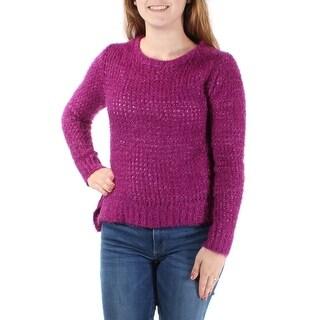 RAMPAGE $20 NEW Womens Purple Scoop Neck Long Sleeve Sweater M B+B