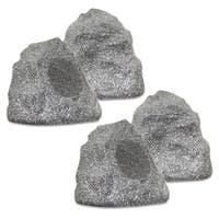 Theater Solutions 4R4G Outdoor Granite Rock 4 Speaker Set for Deck Patio Garden