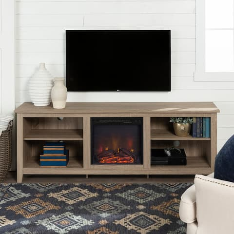 70-inch Driftwood Fireplace TV Stand Console with Adjustable Shelving