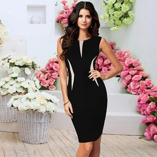 Women Fashion Slim Bodycon Sleeveless Party Cocktail Pencil Dress Black Vestido