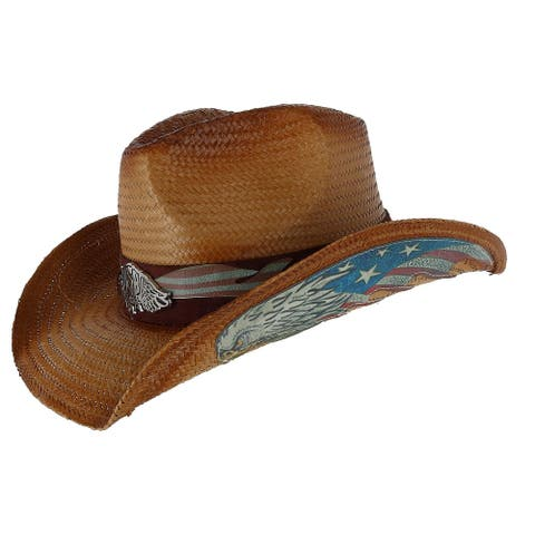 Angela & William Men's Western Hat with Eagle Badge and Flag Trim - Natural