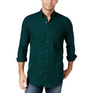 John Ashford Mens Button-Down Shirt Herringbone Long Sleeves