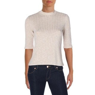 Polly & Esther Womens Blouse Ribbed Trim Elbow Sleeves - l